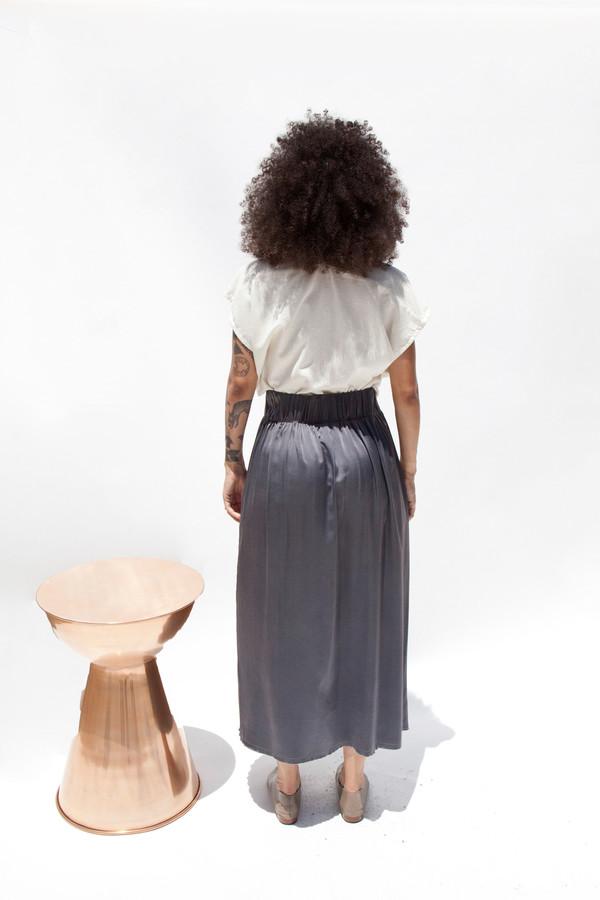 Miranda Bennett Paper Bag Skirt, Silk Charmeuse in Slate