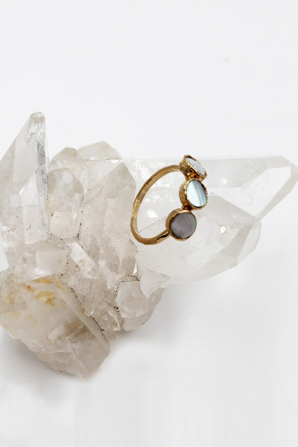 Sheila B Three Stone Mother of Pearl Ring