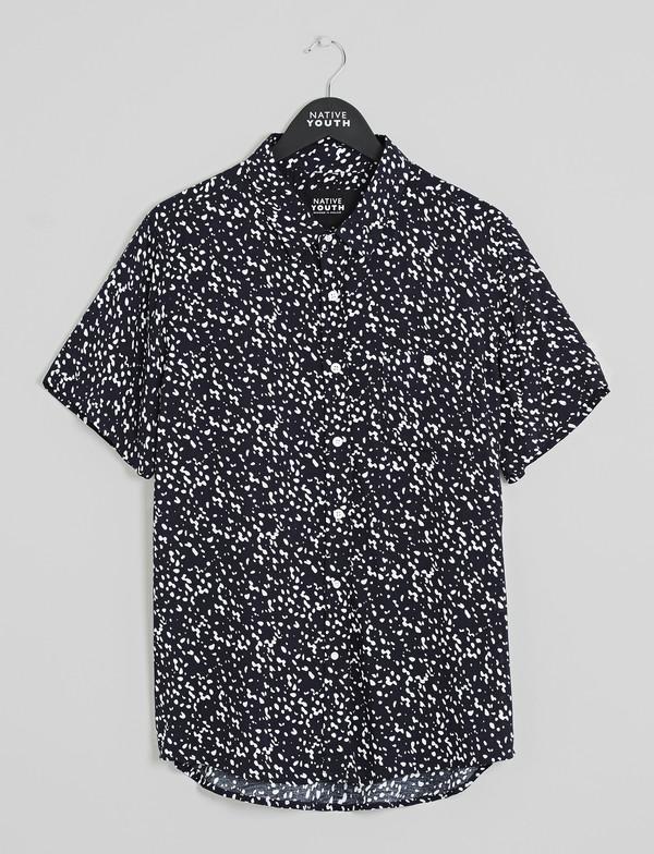 Men's Native Youth Ink Blot Print Short Sleeved Shirt