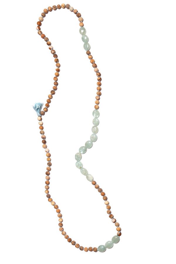James and Jezebelle Jasper and Oval Aqua Marine Necklace