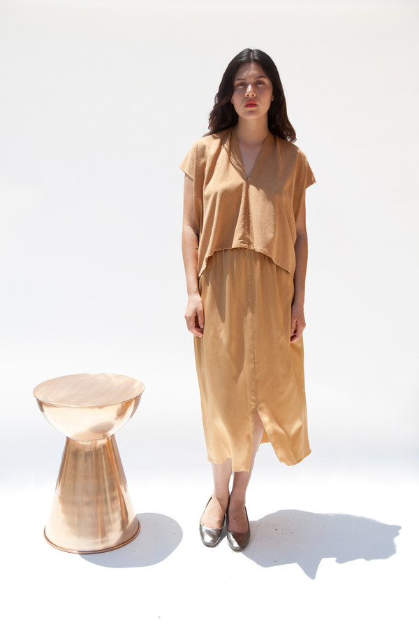 Miranda Bennett Everyday Top, Cropped, Silk Noil in Camel