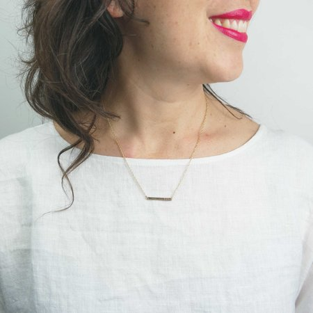 The Artist and the Alchemist Love Stamped Horizontal Bar Necklace
