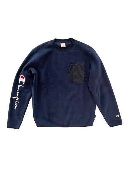 Champion Premium Reverse Weave Polartec Crewneck Sweater - Navy