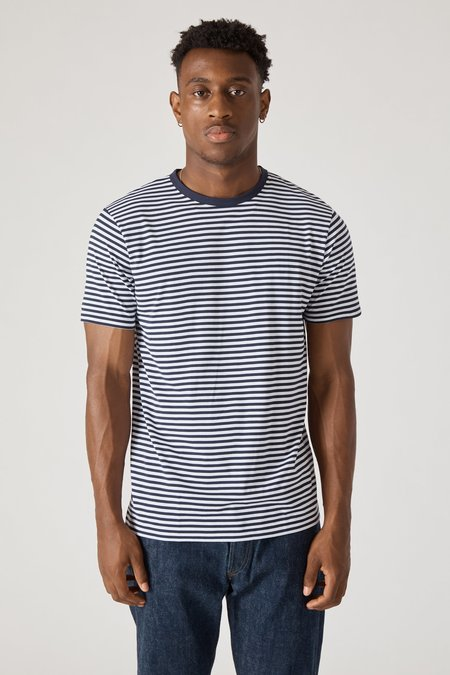 Sunspel Short Sleeve Crew Neck T-Shirt - White/Navy