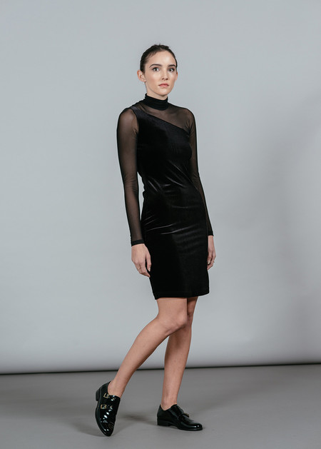 Ganni Campbell Velour L/S Dress