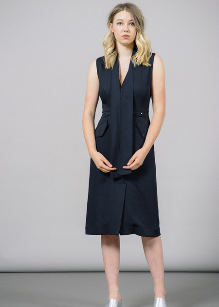 Rachel Comey Gully Skinny Scarf V-Neck Dress