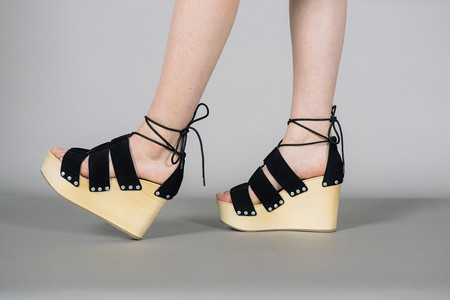 Loeffler Randall Ines Lace Up Clog Wedges