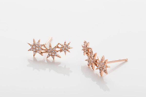 Gabriela Artigas Pave Triple Shooting Star Earrings