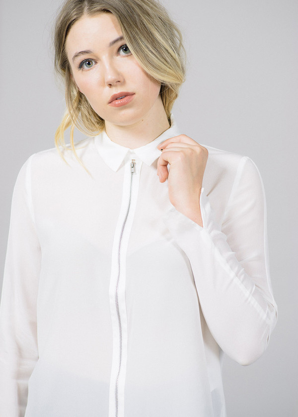 Just Female Wicked Collar Zip Silk Shirt
