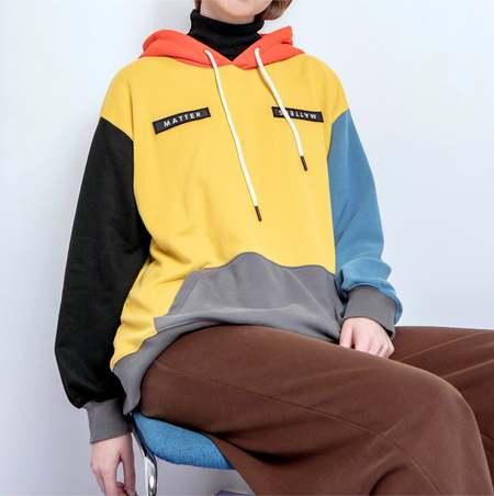 Unisex MATTER MATTERS Colourblock hoodie - Yellow Multi