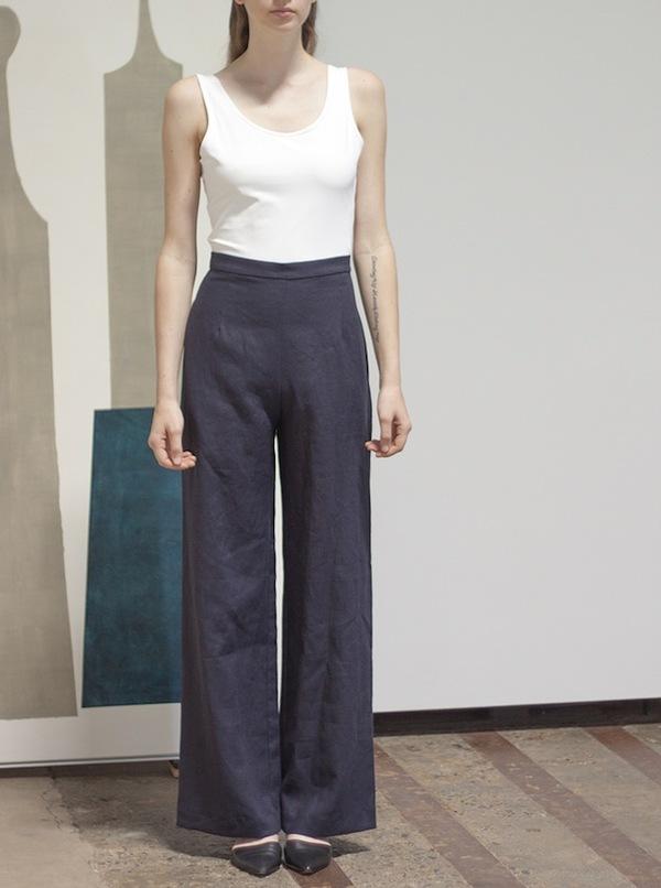 Sunja Link High Waist Black Linen Pants