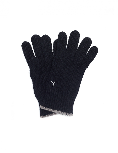 Y's Black Wool Embroidered Gloves