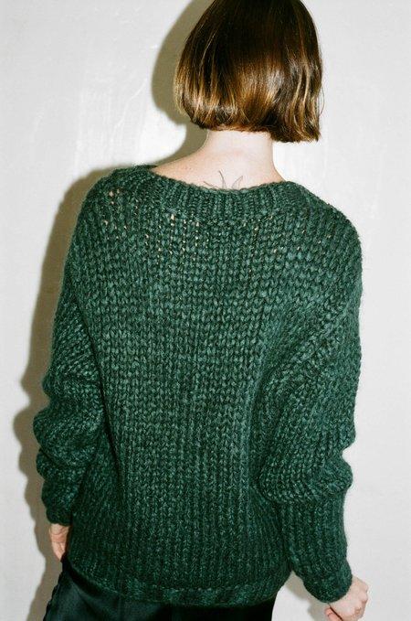 Priscavera Mock Neck Ribbed Sweater - Otter Green