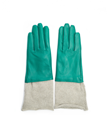 Undercover Leather/Gashmere Gloves - Green