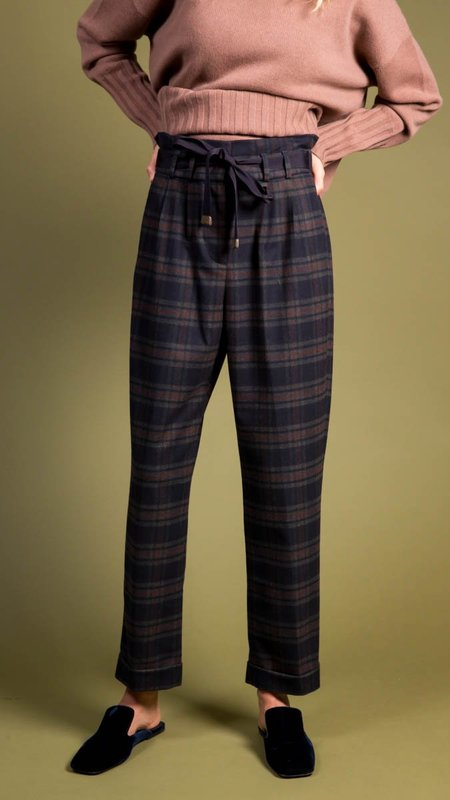 Peserico Plaid Pants With Tie Front