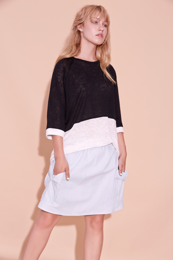Eve Gravel Cream Soda sweater - Black and White