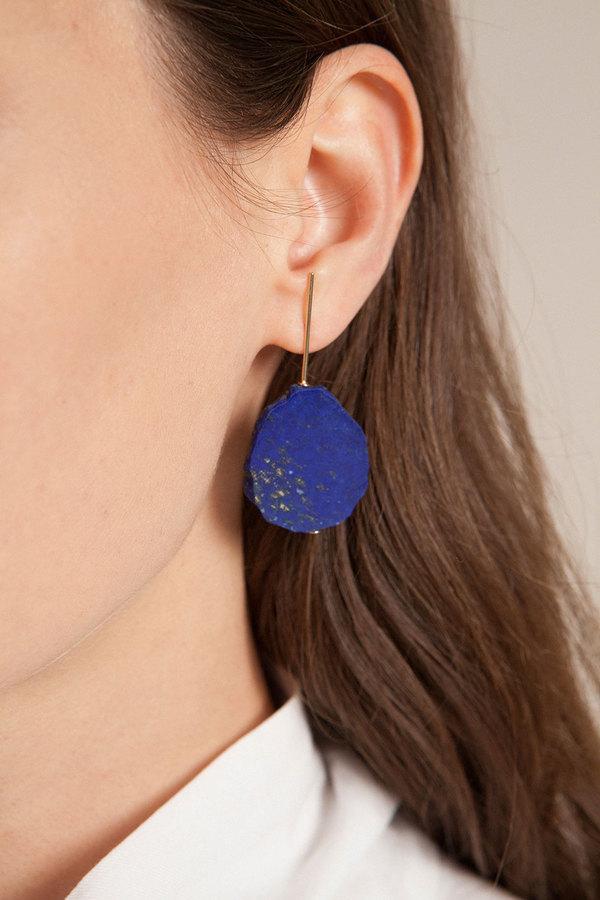 Kathleen Whitaker Lapis Slice Earrings