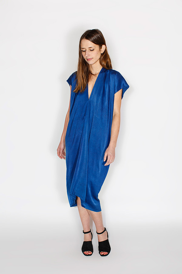 Miranda Bennett In-Stock: Everyday Dress, Silk Charmeuse in Indigo