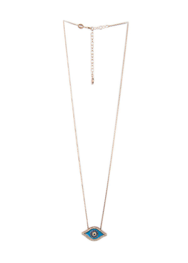 Blee Inara Swarovski Eye Charm Necklace in Rose Gold