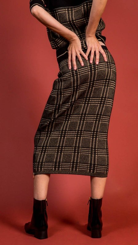 D.Exterior Tube Skirt with Side Zippers - Black/Gold Pattern