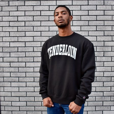 Tilted Brim Tenderloin Champion Arch Crewneck Sweatshirt - Black