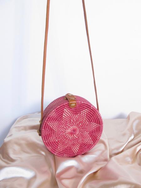 Folk Fortune Pink Rattan Bag, Sraw Bag, Bali Bag