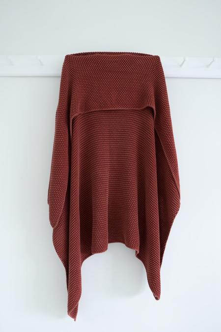 Karu Knitted Cotton Blanket - Rust