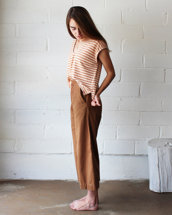 esby EVIE OVERSIZED TOP - BURNT ORANGE STRIPE/BLUSH