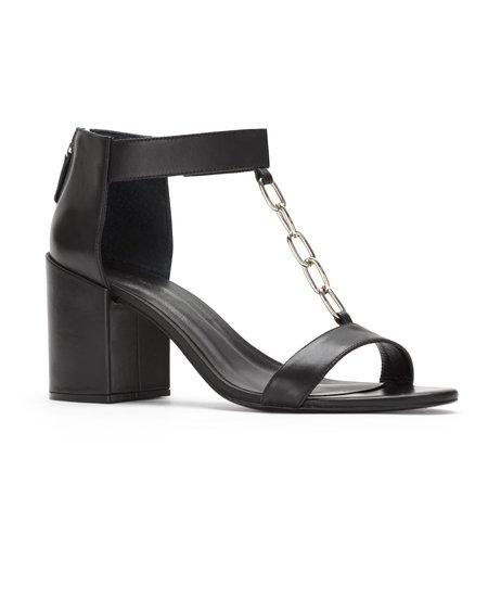 Uma Raquel Davidowicz Papillon Mid-heel leather sandals w/ chain detail - Black