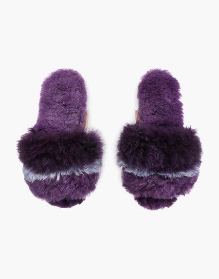 Ariana Bohling Three Stripe Alpaca Slipper - Lilac