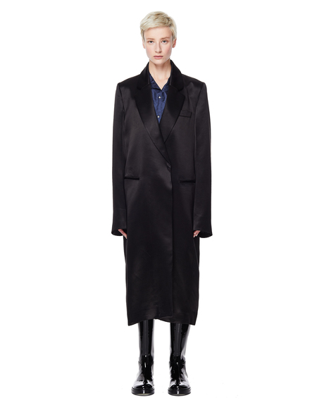 Ann Demeulemeester Black Satin Coat