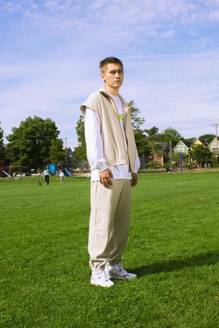 unisex Folk Fortune Oversized Eco fleece Vest - Cream