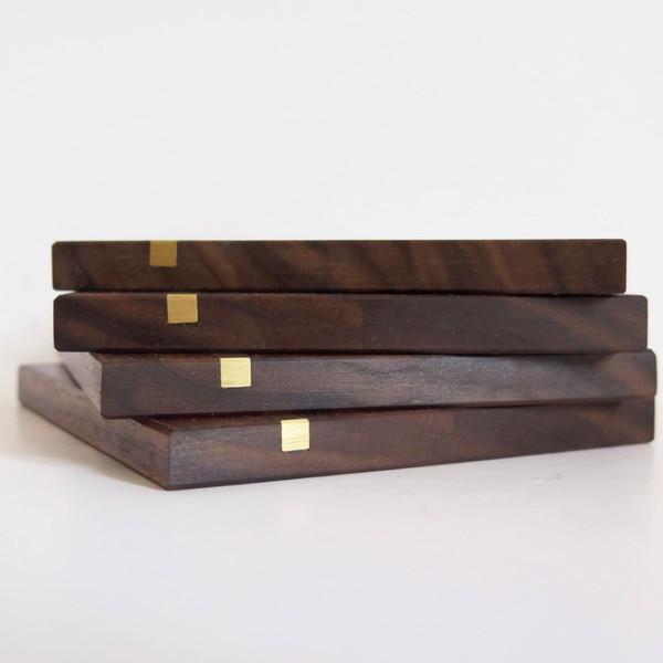 Christina Hilborne Walnut and Brass Wooden Coasters