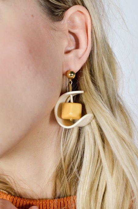 Rita Row Drop Earrings - Mustard