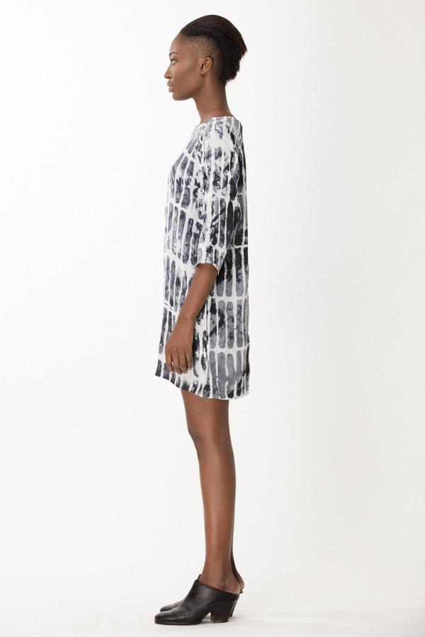 Osei-Duro Linter Dress in Black Chalk