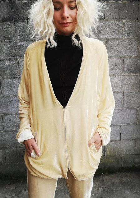 Berenik Silk Velvet Cardigan With Zip - Ivory