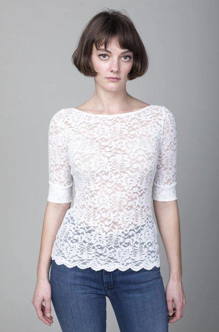 Rachel Comey Bateau Scallop Lace Top - White