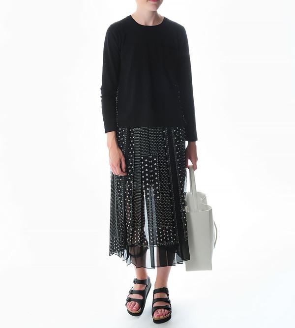 Sacai Luck Pleated Heart-Print Skirt