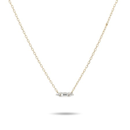 Adina Reyter Single Baguette Necklace - 14k yellow gold