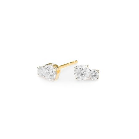 Adina Reyter Super Tiny Two Diamond Amigos Post - 14k yellow gold