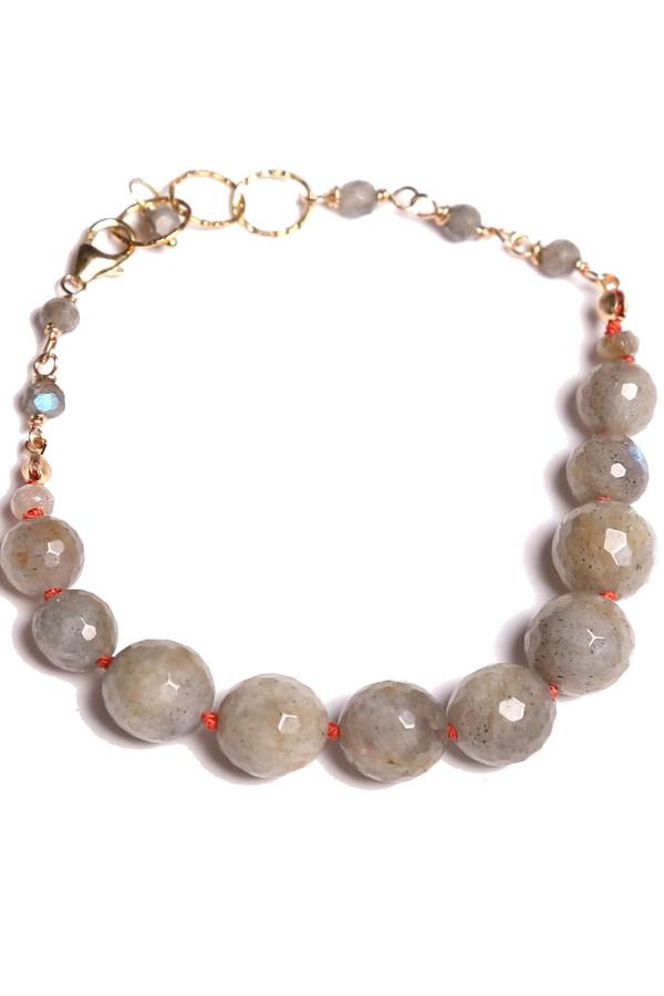 James and Jezebelle Labradorite with Coral Thread Bracelet