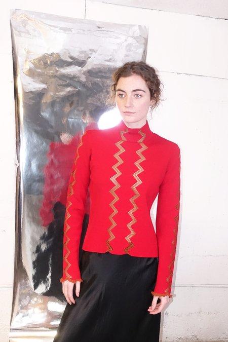 Rachel Comey Premuda Top - Red Chevron Intarsia