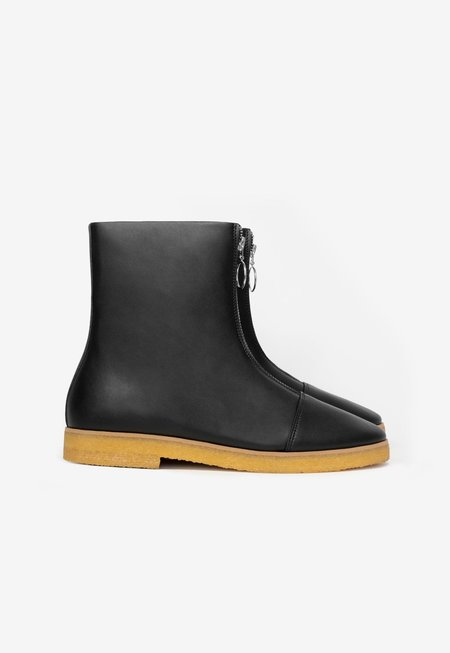Sydney Brown Crepe Zip Faux Nappa Boot - Black