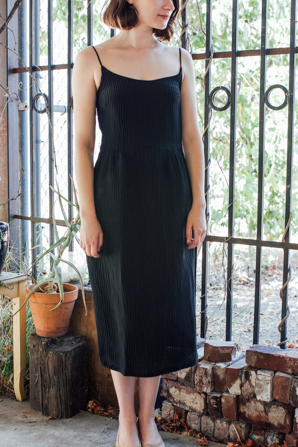 Objects Without Meaning Strappy Dress, Black Ripple