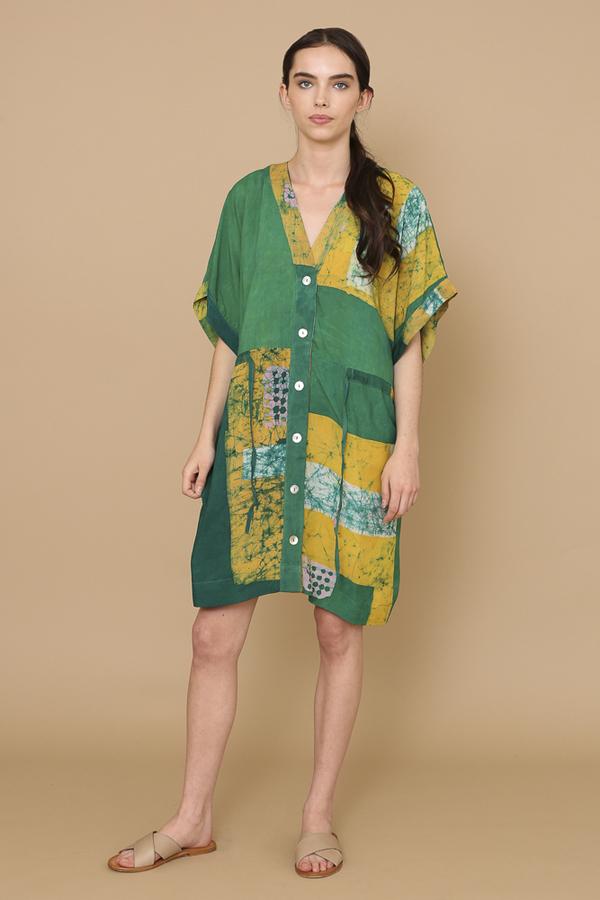 Osei-Duro Toss Kimono in Green Rubics