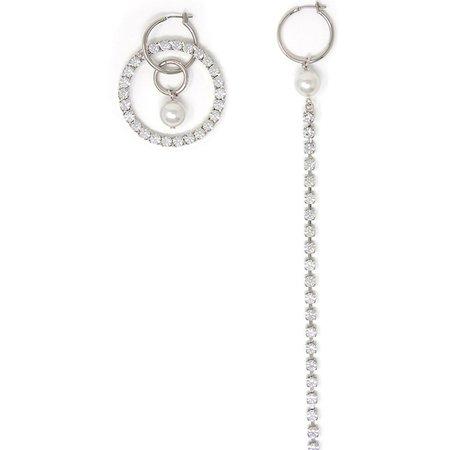 Joomi Lim Asymmetrical Hoop and Crystal Earrings with Pearls - Rhodium/Crystal/White