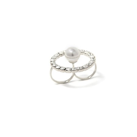 Joomi Lim Double Finger Crystal Hoop Ring With Pearl Center - Rhodium/Crystal/White