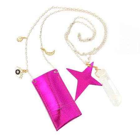 Kids Atsuyo Et Akiko Amulet Crystal Necklace Foil Pink