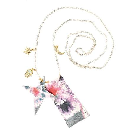 Kids Atsuyo Et Akiko Amulet Crystal Necklace - Tie Dye Grey Flower