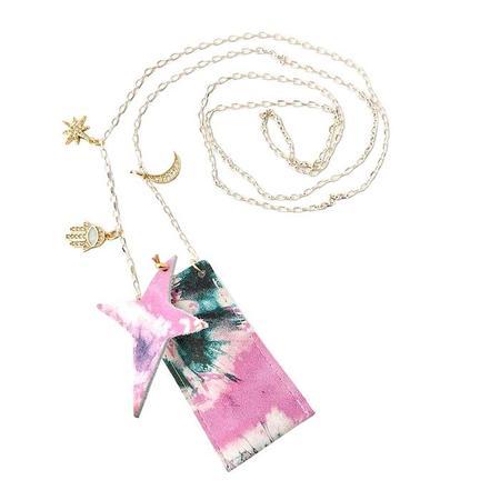 Kids Atsuyo Et Akiko Amulet Crystal Necklace - Tie Dye Pink Flower